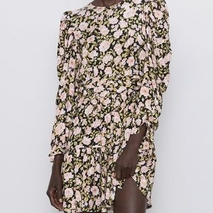 Zara Floral Print Mini Dress Multicolored
